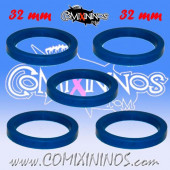Skill Markers - Set of 5 Blue Rubber Deluxe Rings for 32 mm Bases - Comixininos