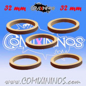 Skill Markers - Set of 5 Grey Rubber Deluxe Rings for 32 mm Bases - Comixininos