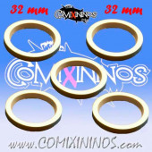 Skill Markers - Set of 5 White Rubber Deluxe Rings for 32 mm Bases - Comixininos