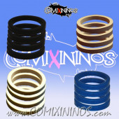 Skill Markers - Set of 16 Multi Color Rubber Deluxe Rings for 25 mm Bases / Blue Included - Comixininos