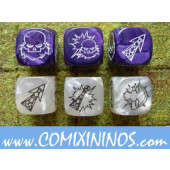 Set of 6 Dwarf Block Dice - Silver and Purple