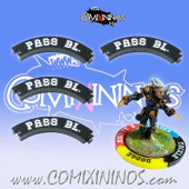 Set of 4 Black Pass Block Puzzle Skills for 32 mm GW Bases - Comixininos