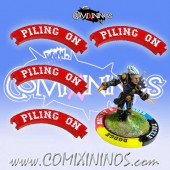 Set of 4 Red Piling On Puzzle Skills for 32 mm GW Bases - Comixininos