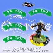 Set of 4 Green Prehensile Tail Puzzle Skills for 32 mm Bases - Comixininos
