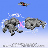 Set of 2 Prone / Stunned Tokens for Frogmen Big Guy - Fanath Art