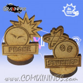 Set of 2 Standing Wooden Prone / Stunned Tokens - Meiko