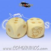 Set of 2d6 Ratmen  Dots Dice - Wooden