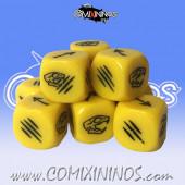 Set of 3 Rat Max Yellow Block Dice - Txarli Miniatures