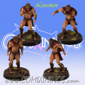 Norses / Bretonnian / Humans - Set of 4 Spartan Linemen - Meiko Miniatures