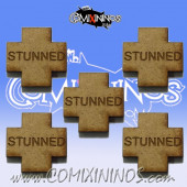 Set of 5 Flat Wooden Stunned Tokens - Meiko