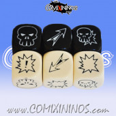 Set of 6 Meiko Block Dice - Black and White