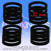 Skill Markers - Set of 16 Black Rubber Deluxe Rings for 32 mm Bases - Comixininos