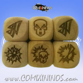 Set of 3 Dark Elf Block Dice Large Size 20 mm - Wooden