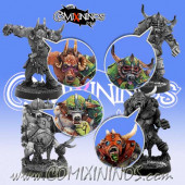 Set of 4 Beastmen or Pestigor Heads - Meiko Miniatures