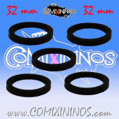 Skill Markers - Set of 5 Black Rubber Deluxe Rings for 32 mm Bases - Comixininos