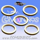 Skill Markers - Set of 5 White Rubber Deluxe Rings for 25 Bases - Comixininos