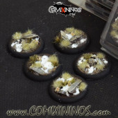 Set of 5 Round 40mm Battle Ready Snow Roundlip Bases  - Gamer's Grass