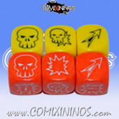 Set of 6 Meiko Block Dice - Yellow and Orange