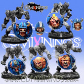 Set of 7 Ogre Heads - Meiko Miniatures