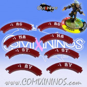 Set of 8 Deep Red Characteristic Modification Puzzle Skills for 32 mm Bases - Comixininos