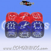 Set of 6 Meiko Block Dice - Translucent Red and Blue