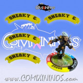 Set of 4 Yellow Sneaky Git Puzzle Skills for 32 mm Bases - Comixininos