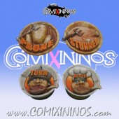 Set of 4 Markers Halfling Chicken Devourers  - SP Miniaturas