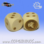 Set of 2d6 Spartan Dice - Wooden