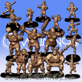 Ogres - 3D Printed Stampede Ogre Female Team of 16 Players - RN Estudio