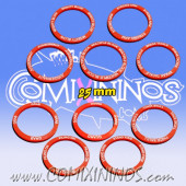 Set of 10 Strength Skill Rings for 25 mm Bases - Red