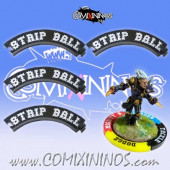 Set of 4 Black Strip Ball Puzzle Skills for 32 mm GW Bases - Comixininos