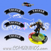 Set of 4 Black Tackle Puzzle Skills for 32 mm Bases - Comixininos