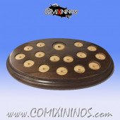 Team Display Base for 25 mm Bases 15 Standard and 1 Big Guy - Brown