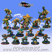 Lizardmen - Complete Metal Lizardmen Team of 16 Players with Big Lizard - Fanath Art