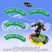 Set of 4 Green Tentacles Puzzle Skills for 32 mm Bases - Comixininos
