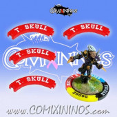 Set of 4 Red Thick Skull Puzzle Skills for 32 mm Bases - Comixininos
