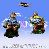 Set of 2 Prone / Stunned Mini-BB Miniatures