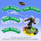 Set of 4 Green Two Heads Puzzle Skills for 32 mm Bases - Comixininos