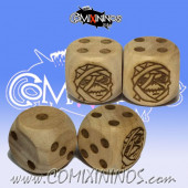 Set of 2d6 Mummy Undead / Egyptian Dots Dice - Wooden