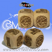 Set of 2d6 Mummy Undead / Egyptian Numbers Dice - Wooden