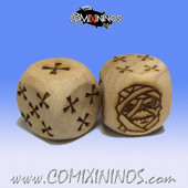 Set of 2d6 Mummy Undead / Egyptian Bones Dice - Wooden