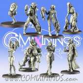 Undead Egyptian - Underground Set of 8 Coaching Staff Miniatures 3 Tokens and 2 Footballs - Games Miniatures