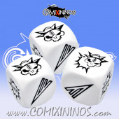 Set of 3 White Block Dice - Iron Golems