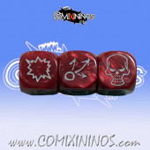 Set of 3 Red Pearl Block Dice - Willy Miniatures