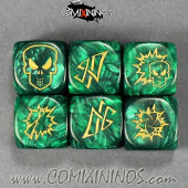 Set of 3 Wood Elf Block Dice - Green