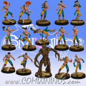 Wood Elves - Forest Elf Team of 15 Players with Treeman - SP Miniaturas