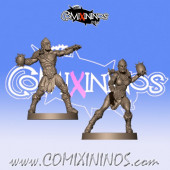 Wood Elves / Elves - Set of 2 Throwers  - Willy Miniatures