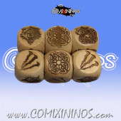 Set of 3 Norse Block Dice Standard Size 16 mm - Wooden
