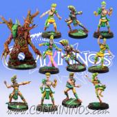 Wood Elves - Team of 11 Players with Treeman - Meiko Miniatures