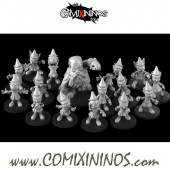 Halflings - Pinocchio Wooden Puppets Team A of 16 Players - Games Miniatures